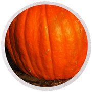 Great Orange Pumpkin Round Beach Towel