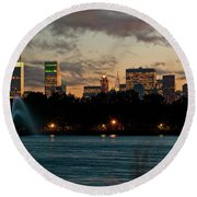 Great Pond Fountain Round Beach Towel