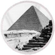 Great Pyramid Of Giza - Egypt - C 1926 Round Beach Towel