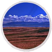 Great Salt Lake And Antelope Island Round Beach Towel