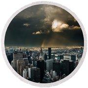 Great Skies Over Manhattan Round Beach Towel by Hannes Cmarits