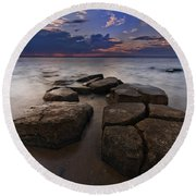 Great South Bay Sunset Round Beach Towel
