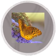 Great Spangled Fritillary Butterfly Round Beach Towel