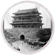 Great Wall Of China - Peking - C 1901 Round Beach Towel