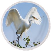 Great White Egret Round Beach Towel