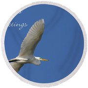 Great White Egret Holiday Card Round Beach Towel