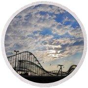 Great White Roller Coaster - Adventure Pier Wildwood Nj At Sunrise Round Beach Towel