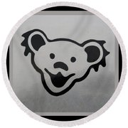 Greatful Dead Dancing Bear In Black And White Round Beach Towel