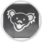 Greatful Dead Dancing Bear In Negative Round Beach Towel