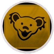 Greatful Dead Dancing Bear In Orange Round Beach Towel