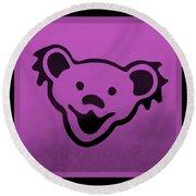 Greatful Dead Dancing Bear In Pink Round Beach Towel