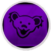 Greatful Dead Dancing Bear In Purple Round Beach Towel