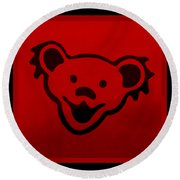 Greatful Dead Dancing Bear In Red Round Beach Towel
