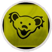 Greatful Dead Dancing Bear In Yellow Round Beach Towel