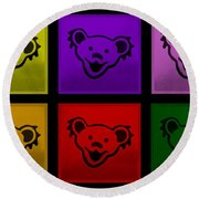Greatful Dead Dancing Bears In Multi Colors Round Beach Towel