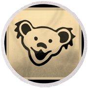 Greatful Dead Dancing Bears In Sepia Round Beach Towel