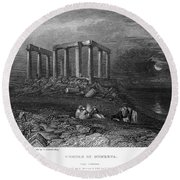 Greece: Cape Sounion, 1832 Round Beach Towel