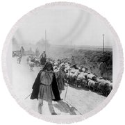 Greece Shepherds And Flocks - C 1909 Round Beach Towel by International  Images