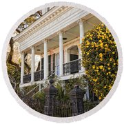 Greek Revival And The Tiny Pink Shoe - Garden District New Orleans Round Beach Towel