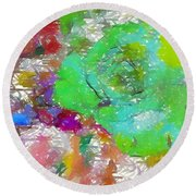 Green Abstract Rose Round Beach Towel