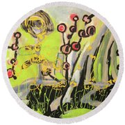 Green And Blue Weed Painting Round Beach Towel
