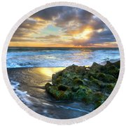 Green And Gold Round Beach Towel