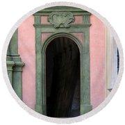 Green And Pink Doorway In Krakow Poland Round Beach Towel