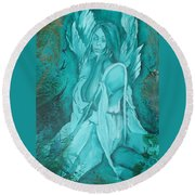 Green Angel Round Beach Towel