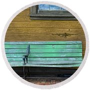Green Bench At Train Station Round Beach Towel