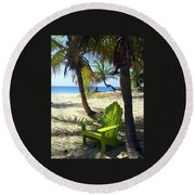 Green Chair On The Beach Round Beach Towel