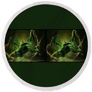 Green Dragon - Gently Cross Your Eyes And Focus On The Middle Image Round Beach Towel
