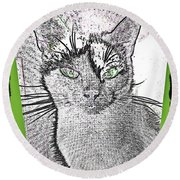 Green Eyed Monster Round Beach Towel