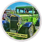 Green Ford Street Rod Hdr Round Beach Towel