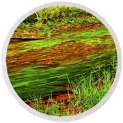 Green Forest River Round Beach Towel