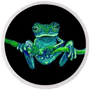 Green Ghost Frog Round Beach Towel