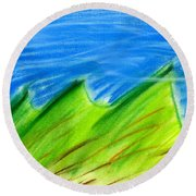 Green Hills Round Beach Towel