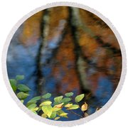 Green Leaves And Autumn Reflection Round Beach Towel