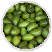 Green Olives Round Beach Towel by Joana Kruse
