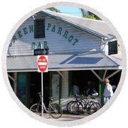 Green Parrot Bar In Key West Round Beach Towel