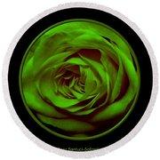 Green Rose On Black Round Beach Towel