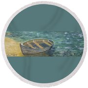 Green Sea My Boat And Me Round Beach Towel