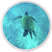 Green Sea Turtle 2 Round Beach Towel