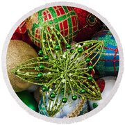 Green Star Christmas Ornament Round Beach Towel