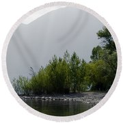 Green Trees Round Beach Towel