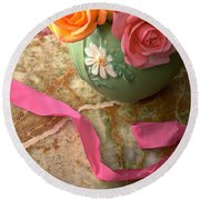Green Vase With Roses Round Beach Towel