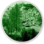 Green Zone Round Beach Towel by Will Borden