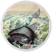 Greenland Whale Round Beach Towel