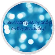 Greeting Card Blue With White Lights Round Beach Towel