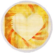 greeting card Valentine day Round Beach Towel by Setsiri Silapasuwanchai
