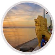 Greeting The Dawn. Round Beach Towel